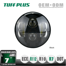E-Mark approval 7 inch round led headlight for jeep, halley, motorcycle, marine, mining machinery