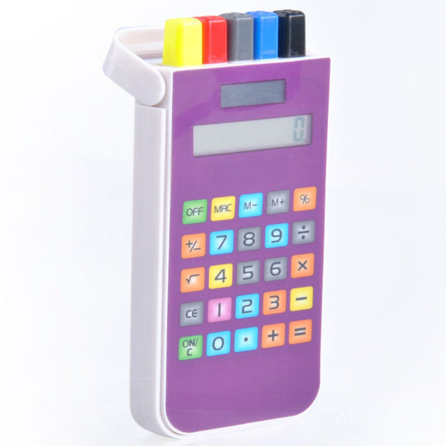 Touch Screen Pencil Case Calculator, Calculator with 4 Ballpens, Promotion Gifts