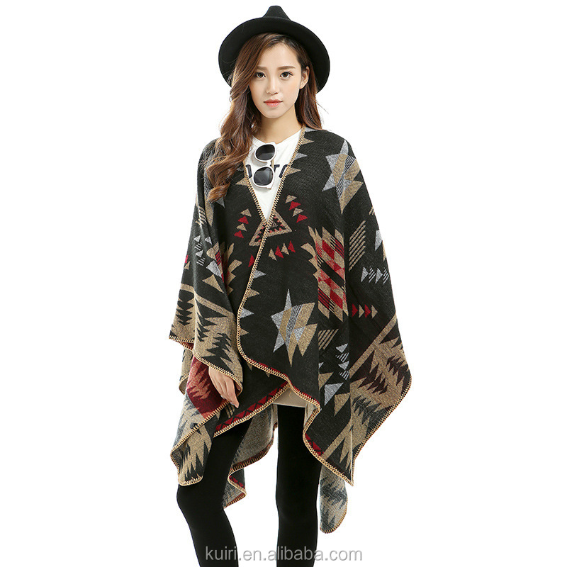 Poncho Women Cashmere Shrug Warm Flower Pattern Slit Wool Blend Plaids Blanket Cloak Poncho Cape Coat printed Cardigan Shawl
