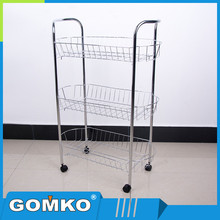 3 tier metal material food storage shelf cart kitchen accessories kitchen trolley wire rack