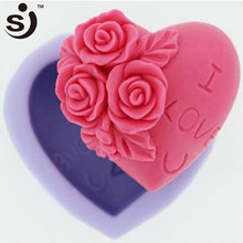 Rose Embossing Heart Shape Silicone Candle Making Mold Soap Mold, DIY Craft Mould Cake