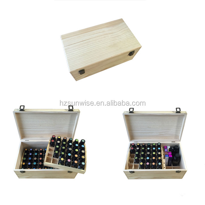 Customized logo pine wood wooden large capacity essential oil storage box with lid