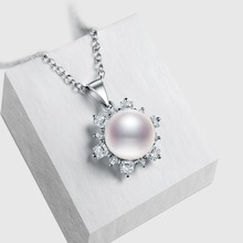 crystal 18k white gold pendant pearl necklace with Anniversary gift for women