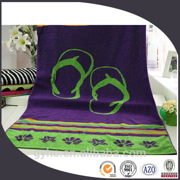 100% cotton yarn dyed jacquard velvet extra large beach towels with shoes