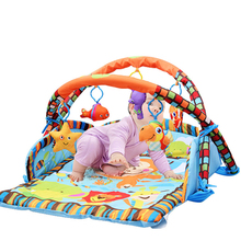 EN71certificate easy folding children play mat with cute baby hanging toys