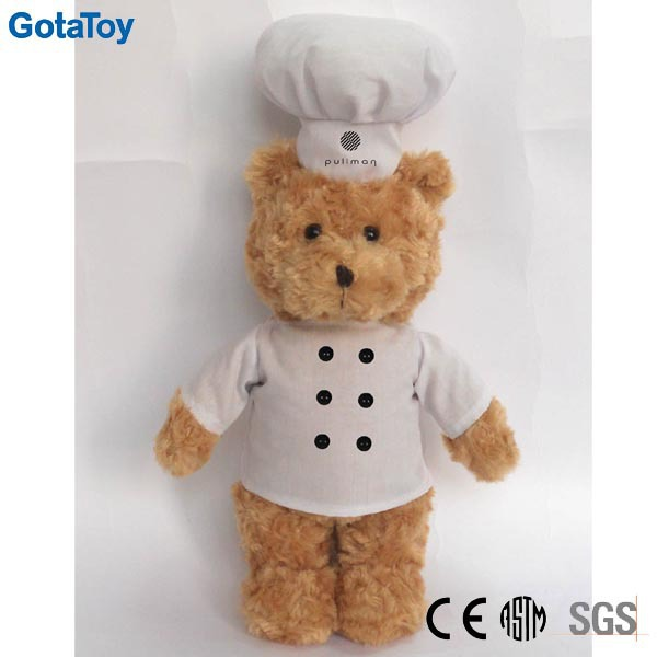 Custom plush teddy bear with chef hat