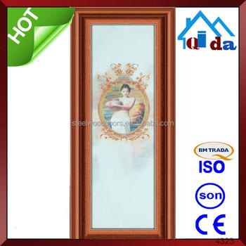 Decorative interior bathroom doors with glass inserts