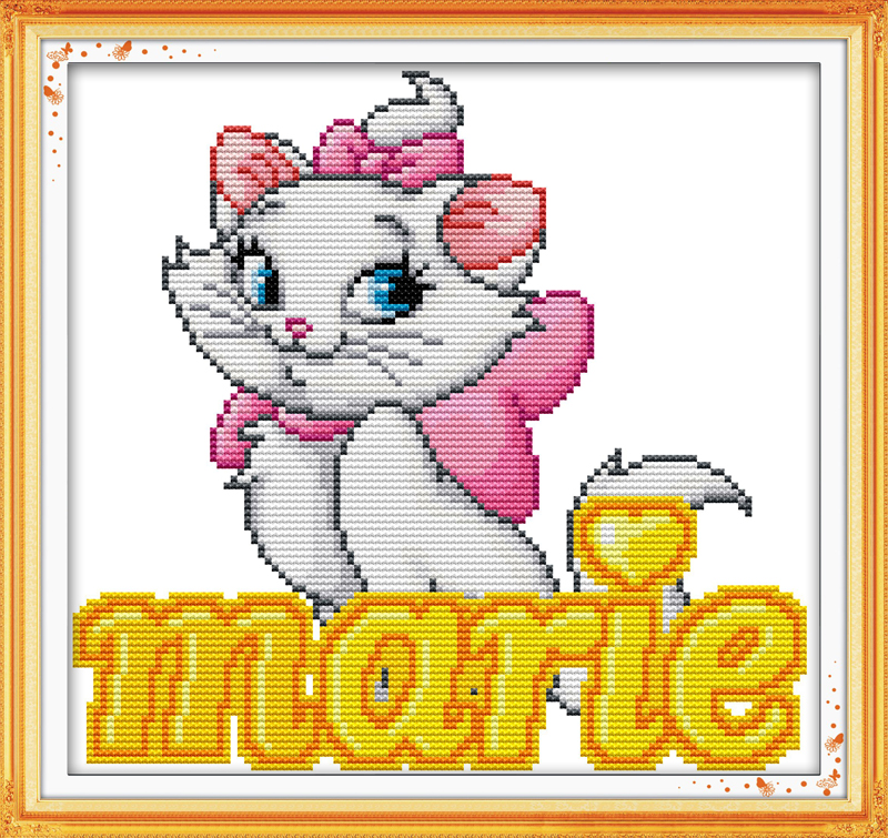 NKF Pink cat(5) cross stitch supplies