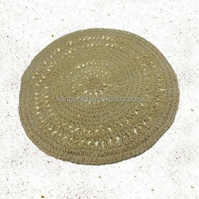 wholesale handmade round disposable paper crocheted placemats