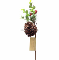 Decorative waterproof Spring pine cone Spray red berry green leaves ESH0043