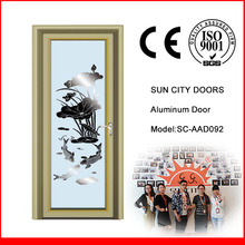 SC-AAD092 Chinese Design Lotus Patterned Aluminum Glass Bathroom Door Price