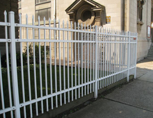 White steel picket fence garden used wrought iron fence