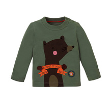 Cartoon animal printed infant and toddlers 100% cotton long sleeve t shirts kids clothes wholesale factory in China