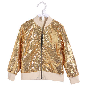 Baby Girl Clothing Children Coat Outerwear Long Sleeve Zipper Sequin Jacket