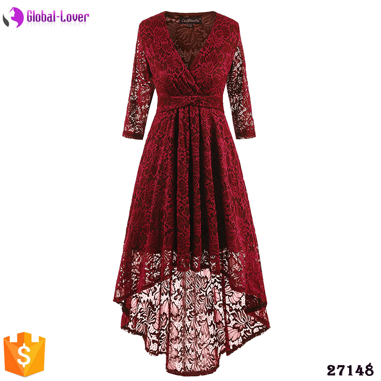 2015 factory price long sleeves red lace prom dress