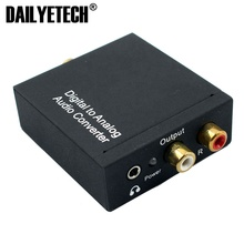 Coaxial Toslink Digital to Analog Audio Converter with AUX Fiber Optical Cable from DAILYETECH