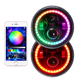 Hottest 7inch LED Headlight Bluetooth Phone APP Control 7 inch round Jeep RGB halo ring led headlights