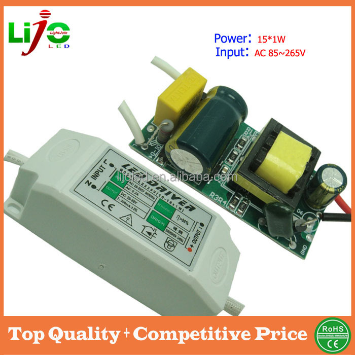 Shenzhen supplier 16w constant current 300ma ac85~265V led power supply with plastic cover panel led driver