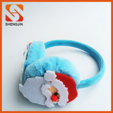 SJ-6777 Blue Plush christmas Earmuff/plush earmuff for kids/plush santa earmuff
