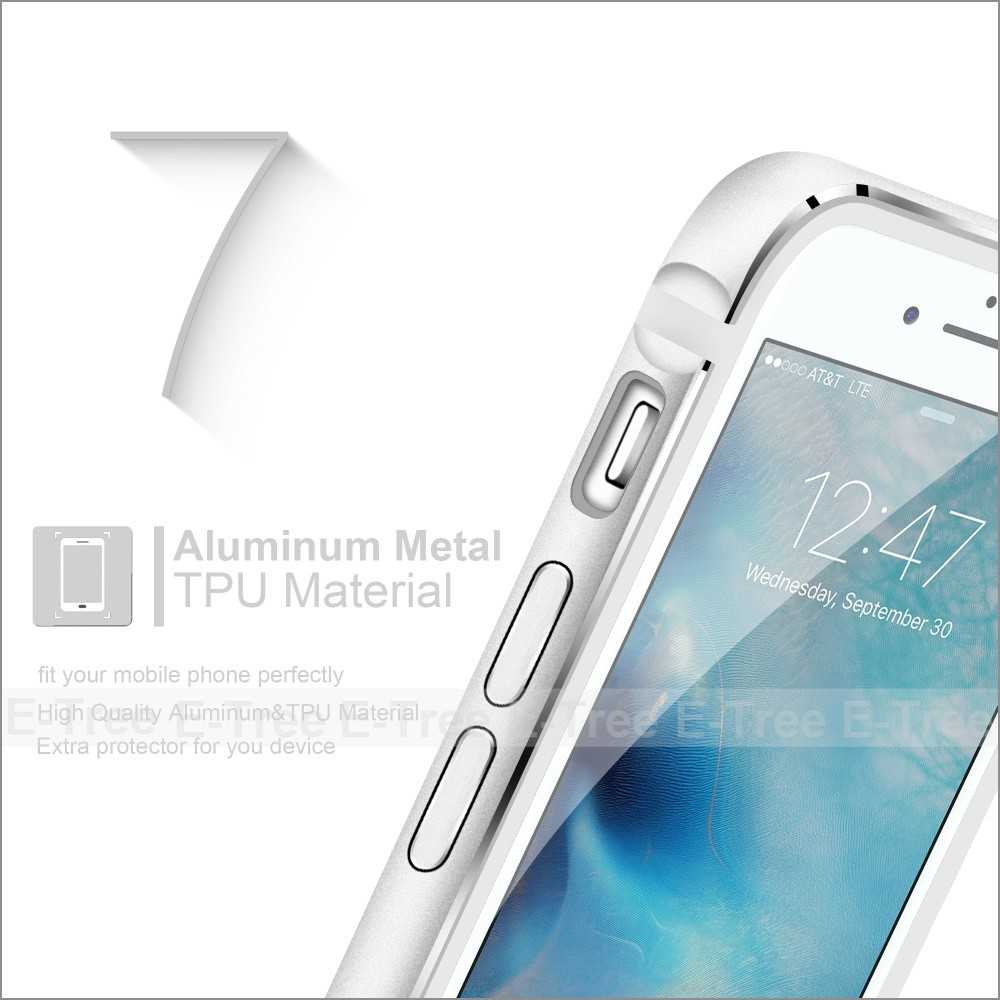 New Transparent Clear TPU Back cover for iphone7, Aluminum Metal Bumper Case For Iphone 7
