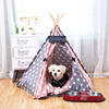 Eco-friendly cotton canvas fabric pet dog cat teepee tent pet dog house pet folding tent