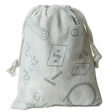 Lovely cartoon white small canvas kids drawstring bag