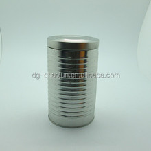 round blank tin can with clear window