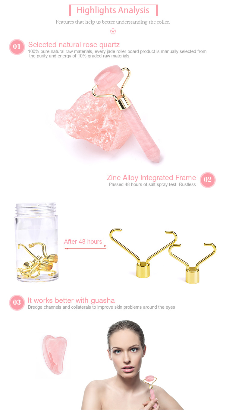 RTS fast shipping rose quartz mini eye roller