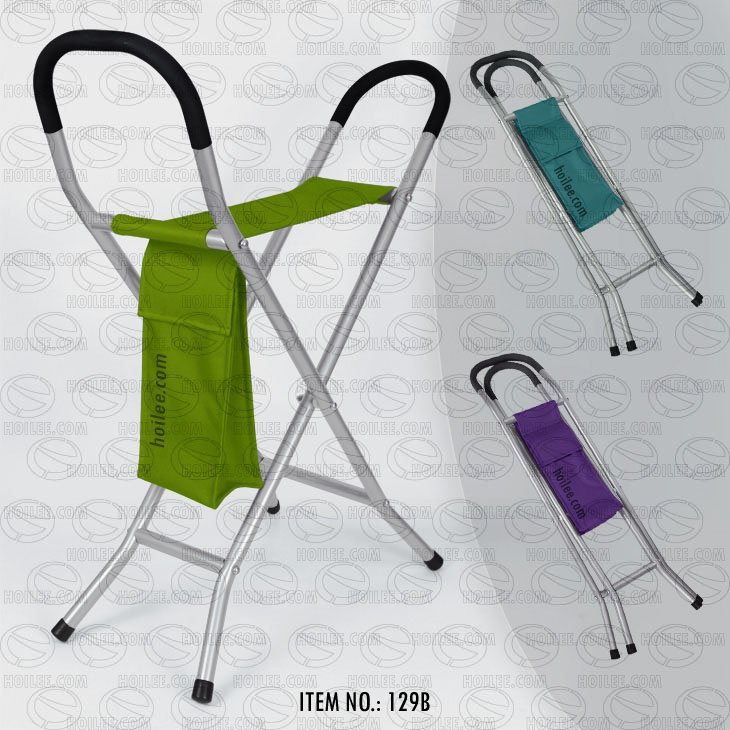 Folding Chair W/ Walking Stick & Side Pouch (129b)