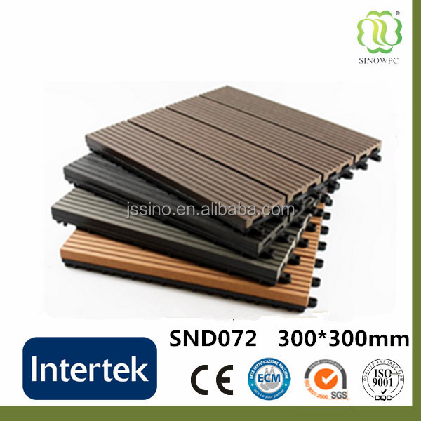 Outdoor garden wpc interlocking cheap composite decking tile 30x30