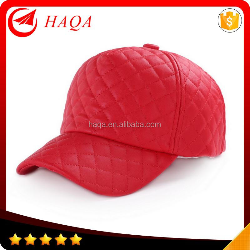 Ladies 5 panel quilted flexfit leather baseball cap
