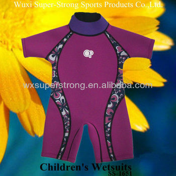 2016 Neoprene Children's Wetsuits for Girls,SCR with nylon coating,Flatlock stitches