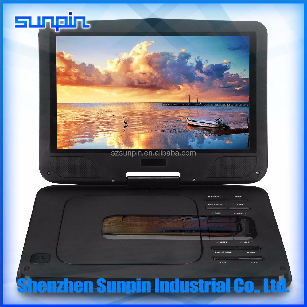 10 Inch Widescreen Portable DVD Player, LCD Screen Portable EVD Player supports DVD VCD MPEG