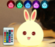 Rabbit LED silicone Night Light 7 Color Changing Desk Table Lamp For Kids as Gift