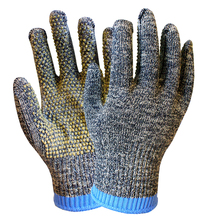 HTR customized cheap aramid knitted with PVC dots gloves