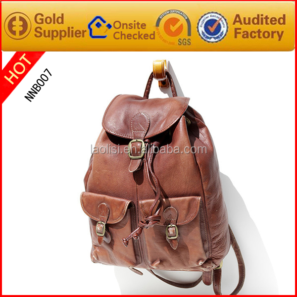 Unique design fashion custom brown leather backpack made in china