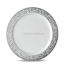 White And Silver Rim Plastic Lace Series Disposable Charger Plates