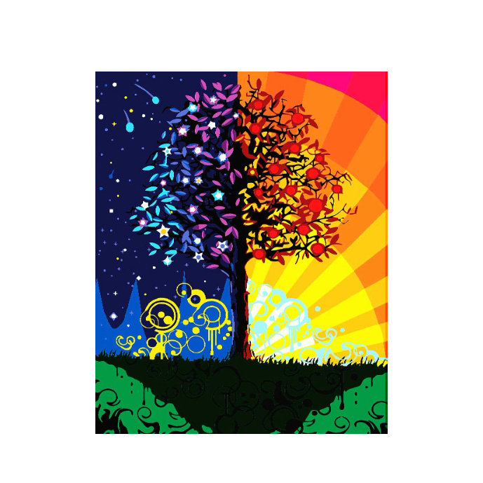 Day and night alternating Abstract trees hand-painted Decorative hanging Painting by numbers Diy Digital Oil Painting with Frame