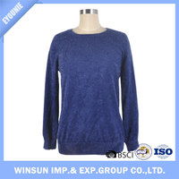 2016 New Design Blue Comfortable Pullover Grace Round Neck Latest Sweater For Ladies