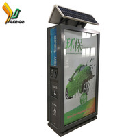 make in our factory for new style in 2015 years steel billboard structure stand display recycle trash bin pole light box