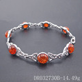Wedding Sterling Silver Amber Celtic Knot Bracelet Length 8 Inches DR032730B