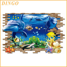 Removable pvc waterproof custom self adhesive undersea world home decor 3d kids room wall sticker