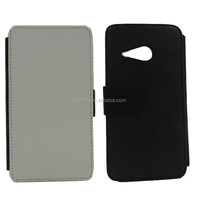 Hot sale sublimation leather wallet flip cover for HTC ONE M8 MINI