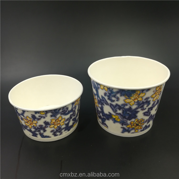 Blue and white porcelain printed disposable cheap paper soup bowl