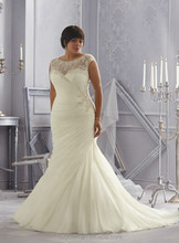 hot quality scoop neck beaded long train xxl wedding dresses
