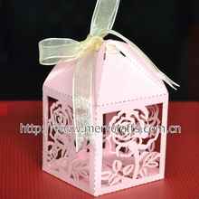 wholesale and retailing pink rose wedding favor candy box featured wedding party decoration