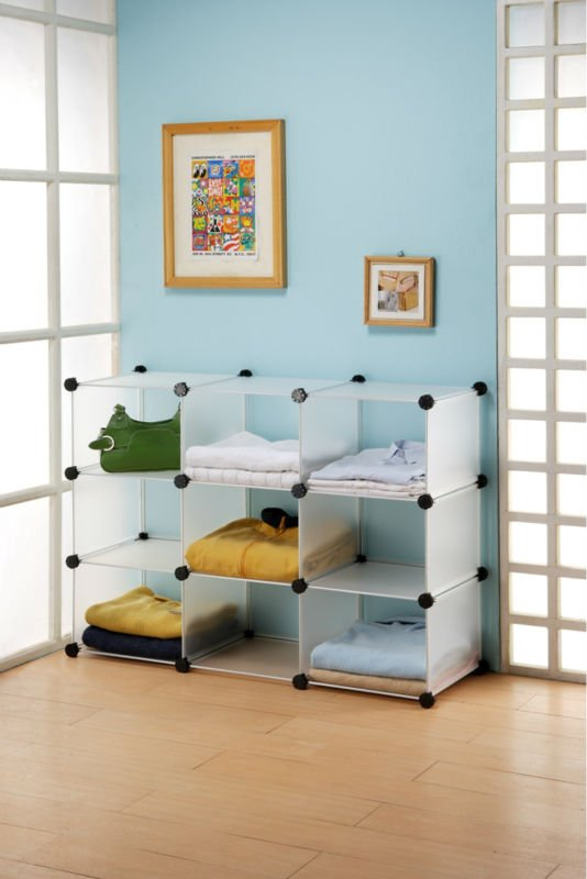 White Cubic Plastic Style Box Storage Shelf