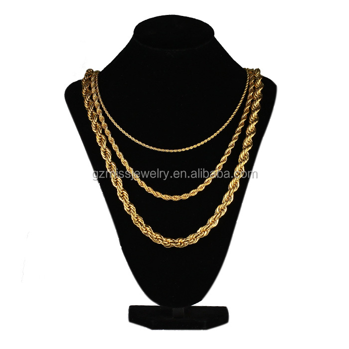 Miss jewelry PVD plating bling 18k gold rope chain necklace MJCN012