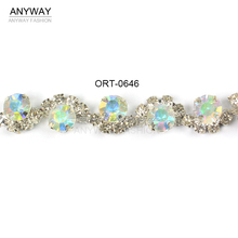 Wholesale AB color crystal chain trim for hair accessories