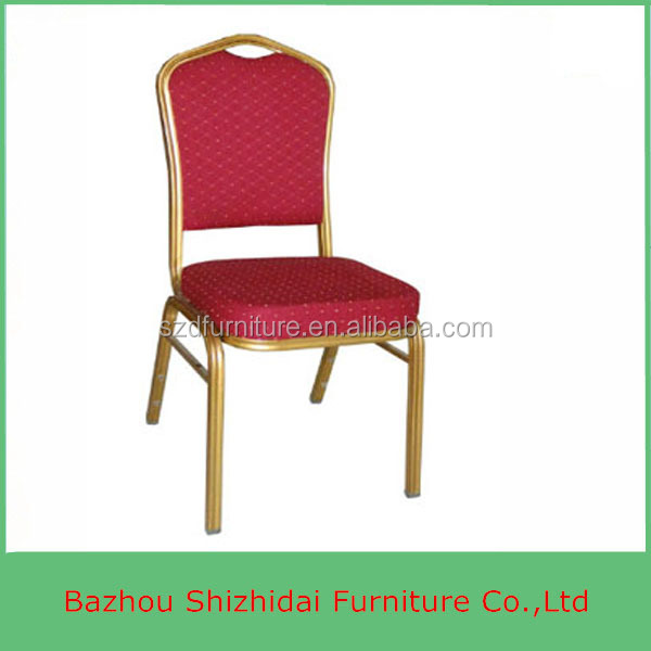 Cheap Stacking Gold Iron Steel Chair With Red Fabric Cushion SDB-206